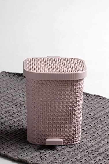 Arma House Örgü Desenli Toz Pembesi Rengi Plastik Pedallı Çöp Kovası 8 Lt Pudra